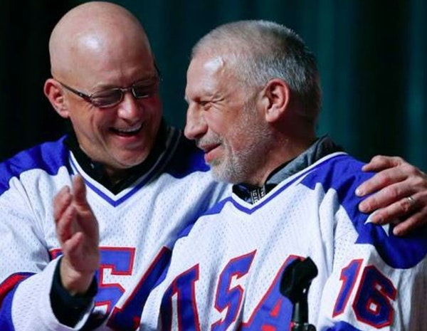 "Jack O'Callahan, left, and Mark Pavelich of the 1980 U.S. ice hockey team talked during the ""Relive the Miracle"" reunion at Herb Brooks Arena on"