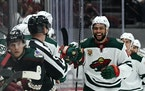 Wild left wing Jordan Greenway celebrates after scoring a goal against the Arizona Coyotes during the second period