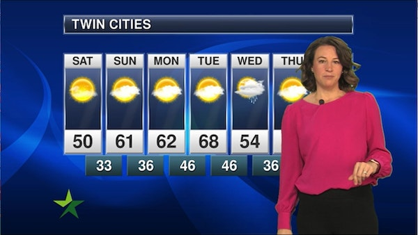 Afternoon forecast: High of 50, sunny and mild