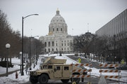 A Nation Guard humvee blocked the road leading to the Minnesota State Capitol in St. Paul on Inauguration Day.