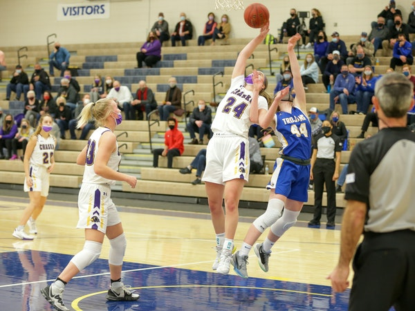Chaska girls' basketball, with top player Mallory Heyer (24), had its final six games of the regular season canceled, but plans to be ready for the