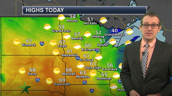 Afternoon forecast: High of 61, breezy with some gusty winds