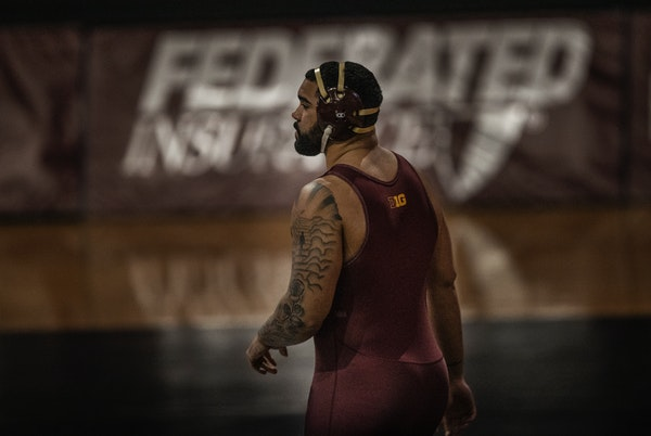 The Gophers' Gable Steveson (shown during a match last month) defeated Michigan's Mason Parris 12-4 to repeat as Big Ten heavyweight wrestling cha