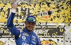 Kyle Larson celebrated after winning a NASCAR Cup Series race in Las Vegas on Sunday, his first victory since he was reinstated from a nearly yearlong