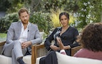 "This image provided by Harpo Productions shows Prince Harry, from left, and Meghan, Duchess of Sussex, in conversation with Oprah Winfrey. ""Oprah wi"