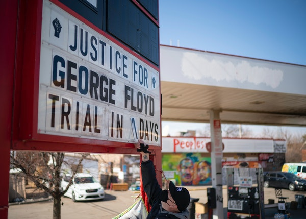 Billy Briggs, who lives just 170 steps from where George Floyd was killed, created and maintains the countdown sign at the gas station on the corner o