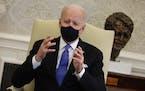 President Joe Biden in the Oval Office on March 3, 2021.