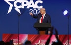 Former President Donald Trump speaks during CPAC in Orlando, Florida on Feb. 28, 2021.