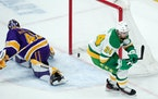 Matt Dumba got the game-winner in overtime against Kings goalie Cal Petersen on Feb. 27 at Xcel Energy Center.