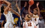 Michigan's Naz Hillmon (left) was named Big Ten Player of the Year in women's basketball Monday. The Gophers' Jasmine Powell (right) was a secon