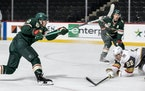 Kevin Fiala's first-period goal gave the Wild a 1-0 lead over Vegas at Xcel Energy Center on Monday night.