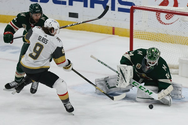Wild goalie Kaapo Kahkonen made 26 saves to record his first career shutout Monday in a 2-0 win over the Golden Knights.