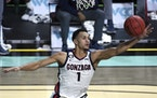 Gonzaga guard Jalen Suggs grabbed a rebound against Saint Mary's during the second half of the West Coast Conference tournament Monday in Las Vegas.