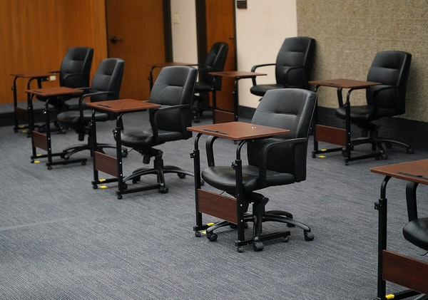 The courtroom C-1856, including these juror seats, where the Derek Chauvin trial is taking place at the Hennepin County Government Center in Minneapol