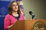Minnesota Education Commissioner Mary Cathryn Ricker speaks during an April 2020 news conference. (Aaron Lavinsky/Star Tribune via AP, Pool)