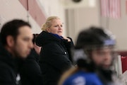 Minnetonka coach Tracy Cassano, behind the bench during a game in December 2019.