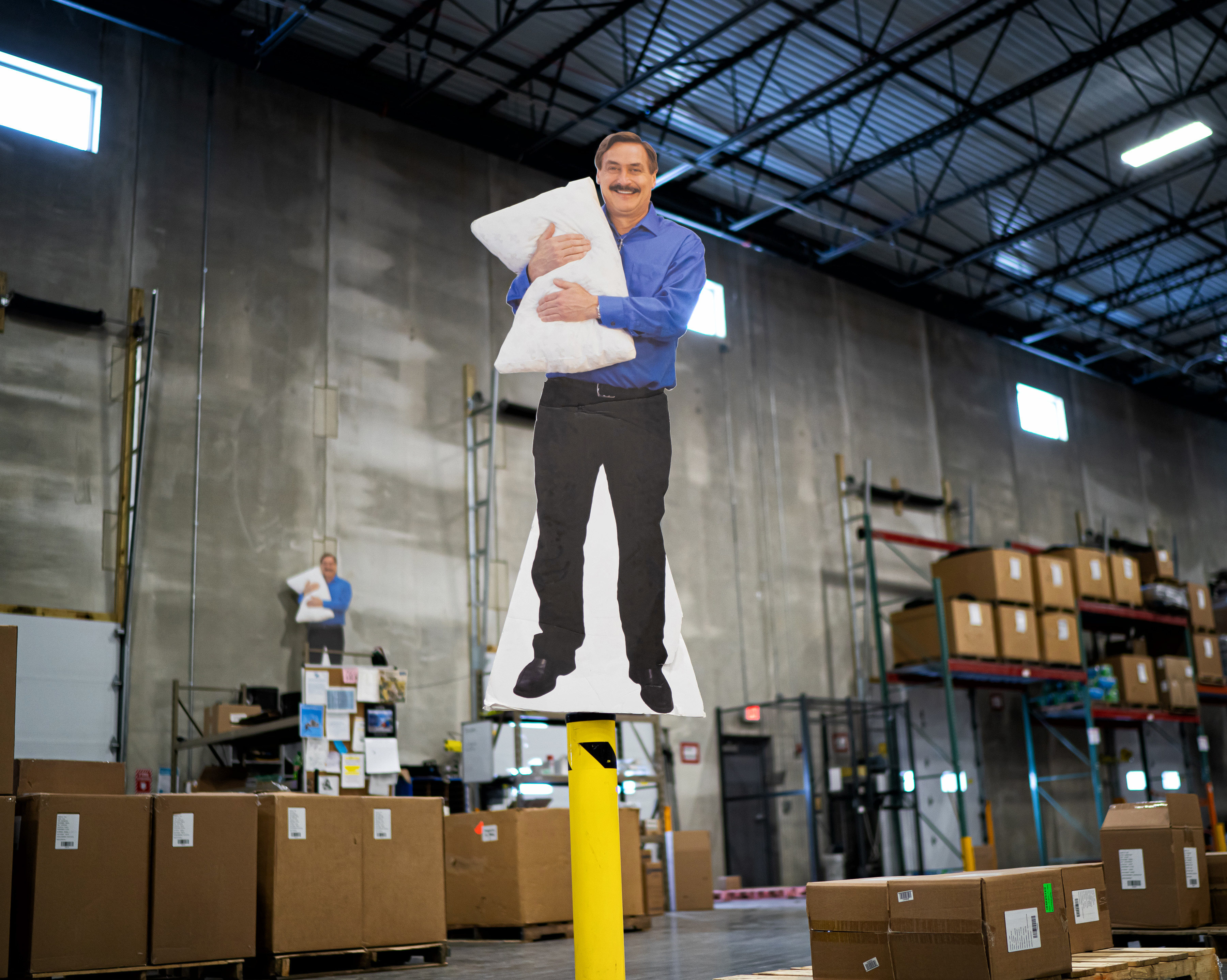 Even when he's not there, Lindell's presence looms large at MyPillow's main factory in Shakopee.
