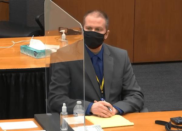 Derek Chauvin in court Wednesday.