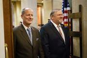 Senate Majority Leader Paul Gazelka and then-Senate Minority Leader Tom Bakk entered the House Chamber together in 2018. GLEN STUBBE • STAR TRIBUNE