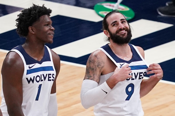 "Timberwolves rookie Anthony Edwards (left) on veteran guard Ricky Rubio: ""He's helping me grow and learn. He's the best leader I've been aroun"