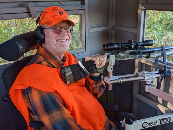 Evan Newton, who uses a wheelchair because of a nerve disease, sat in a Wildlife Management Area blind in western Minnesota.