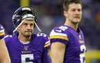 Vikings kicker Dan Bailey, left, and punter Britton Colquitt.