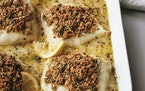 """Quentin Bacon Baked Cod with Herbed Ritz Crackers from Ina Garten's latest, """"Modern Comfort Food"""" (2020, Clarkson Potter)."""