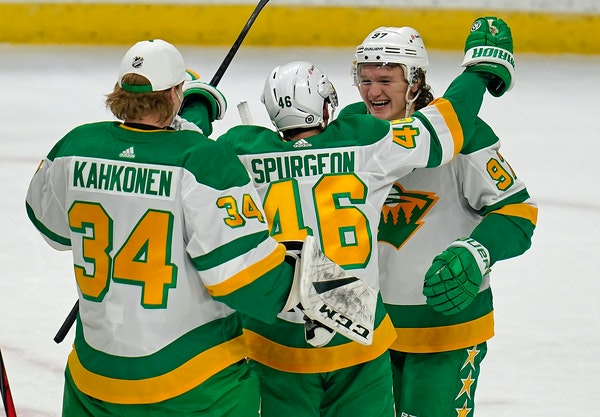 Goalie Kaapo Kahkonen and captain Jared Spurgeon greeted Kirill Kaprizov after the Wild rookie's first career three-goal game Friday night.