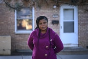 Lovetee Polahn stood for a portrait outside her Brooklyn Center home Thursday. Polahn lost her job last year and is worried about paying rent when the