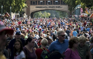 Huge crowds on opening day of the Minnesota State Fair in 2017.