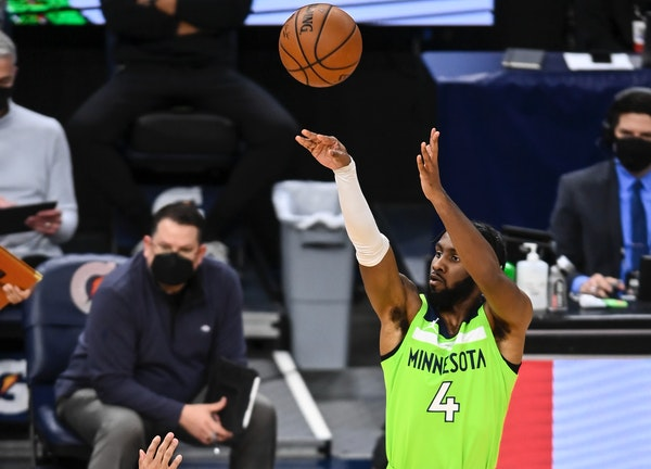 Wolves reserve Jaylen Nowell sank a three-pointer Saturday night against the Trail Blazers.