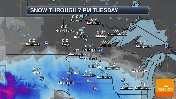 Heavy band of snow tracking closer to Twin Cities this morning
