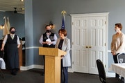 Sen. Amy Klobuchar highlights the recent $1.9 trillion coronavirus relief package at the Boat House restaurant in Duluth on Sunday, March 14. The act