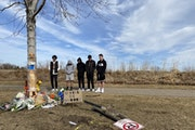 Friends of the victim involved in a fatal crash in Woodbury on Saturday night gathered at the scene of the crash Sunday afternoon where people brought