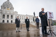 Senate Majority Leader Paul Gazelka speaks during a news conference outside the State Capitol on Oct. 19, 2020. (Leila Navidi/Star Tribune via AP)