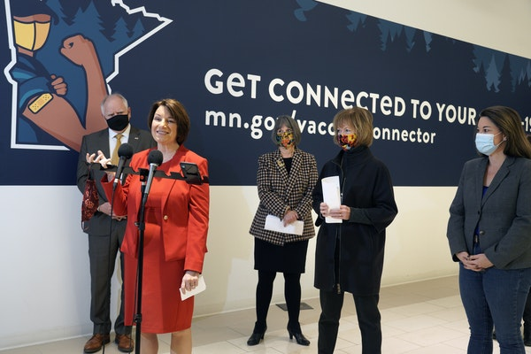 Gov. Tim Walz (left) was joined by Sen. Amy Klobuchar, Rep. Betty McCollum, Sen. Tina Smith,  and Rep. Angie Craig at the Mall of America community va