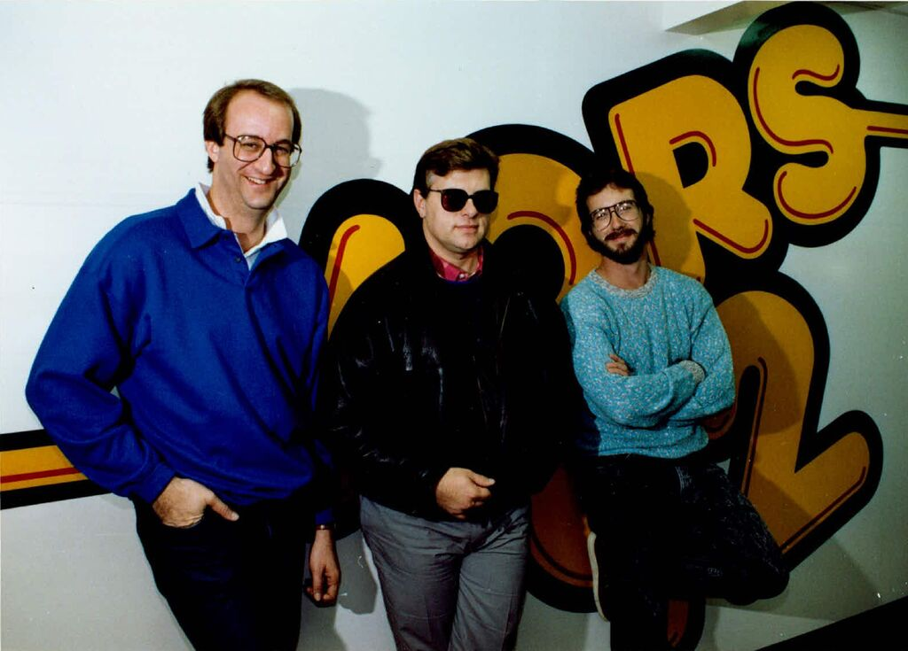 The KQRS morning show in 1987: Dan Culhane, right, with Mark Rosen, left, and Tom Barnard.