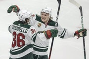 Mats Zuccarello and rookie star Kirill Kaprizov celebrated a Wild goal by Zuccarello in the third period Tuesday night.
