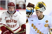 Wild draft pick Matt Boldy and Gophers goalie Jack LaFontaine are among 10 Hobey Baker finalists.