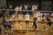 JEFF WHEELER • Star Tribune The Gophers celebrated a point in their win against Penn State on Feb. 14.