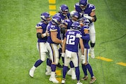 Vikings receiver Chad Beebe (12) scored the winning touchdown against the Panthers in Week 12.
