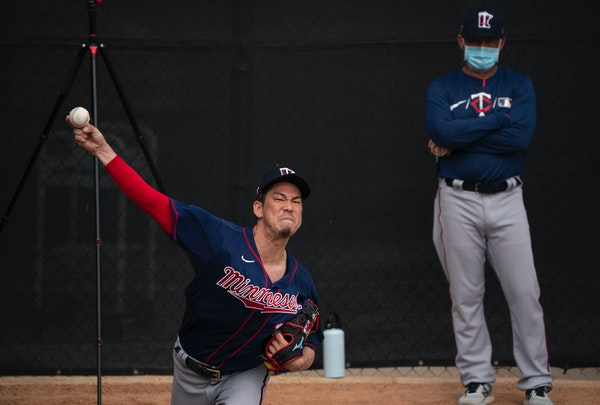 Twins pitcher Kenta Maeda threw in the bullpen last month while pitching coach Wes Johnson observed.