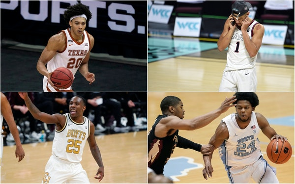 Clockwise from top left: Jericho Sims of Texas, Jalen Suggs of Gonzaga, Kerwin Walton of North Carolina and McKinley Wright IV of Colorado.