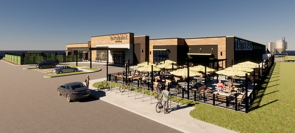 """Provided A rendering of Tattersall Distilling's """"destination distillery"""" set to open this fall in River Falls, Wis."""
