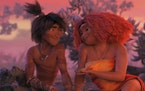 "Guy (voiced by Ryan Reynolds) and Eep Crood (Emma Stone) in ""The Croods: A New Age."""