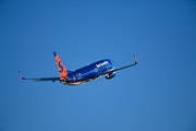 A Sun Country Airlines jet takes off from Minneapolis St. Paul International Airport MSP.