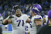 Vikings offensive tackles Riley Reiff, left, and Brian O'Neill in 2019.