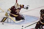 Minnesota Duluth goalie Emma Soderberg turned aside a shot for one of her 44 save against Northeastern in the NCAA Frozen Four semifinals.