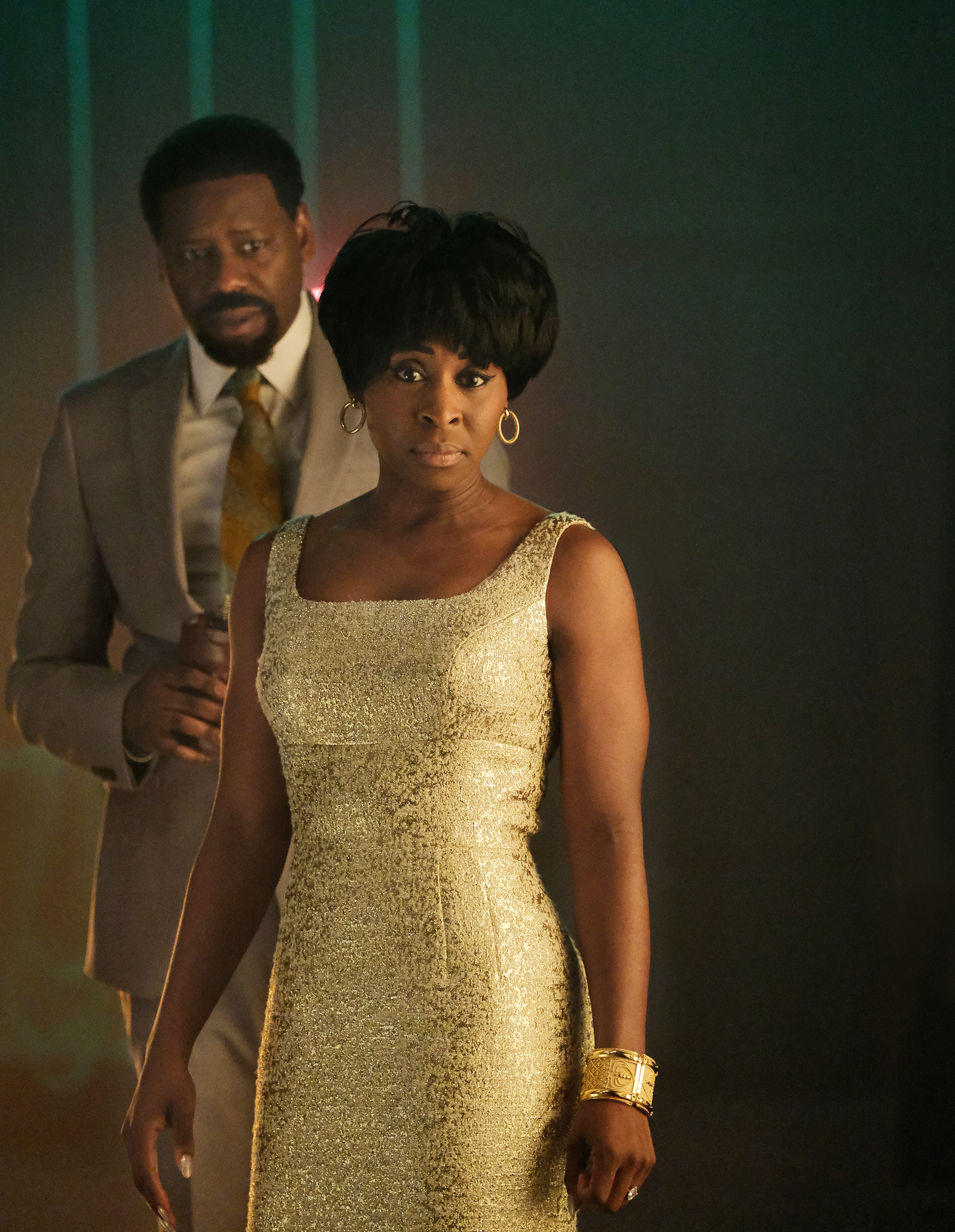 Oscar nominee Cynthia Erivo plays Aretha Franklin with Malcolm Barrett as her husband/manager Ted White.