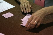 Votes were counted backstage at the DFL convention.  ]  Shari L. Gross • sgross@startribune.com   The Minneapolis DFL held its convention Saturday a
